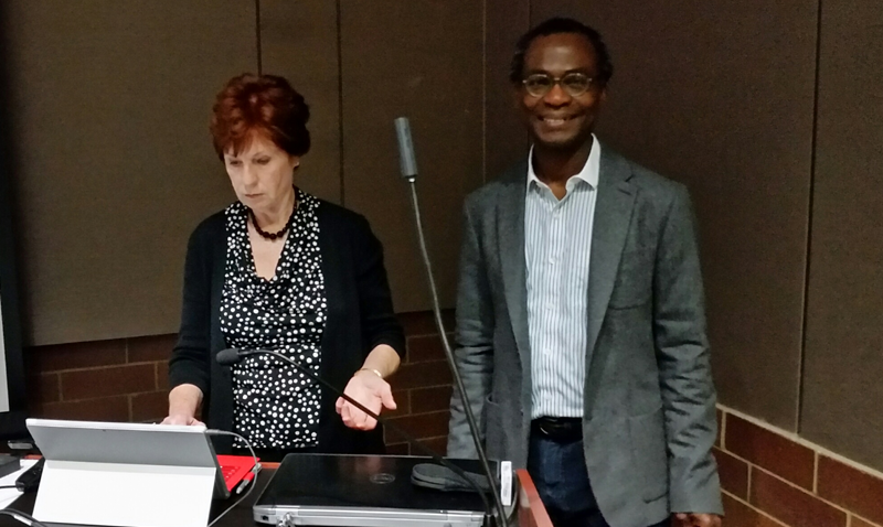 Dr. Dele Ogunseitan with Major General Donna Barbisch, (rtd.), U.S. Army -- at the April 11th  Public Health seminar on Improving Executive Decision-Making through Research Based Science and Simulation