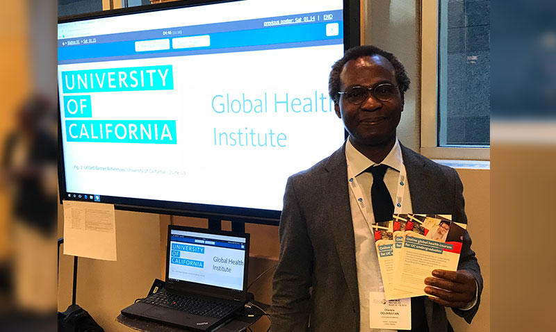 Dele Ogunseitan represents UC Global Health Institute's Innovative Learning Technology Initiative at the New York conference of the Consortium of Universities for Global Health.
