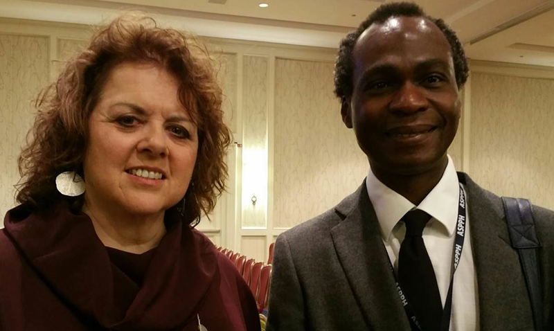 ASPPH 2016: UCI Public Health Chair, Prof. Dele Ogunseitan with Laurie Garrett, Senior Fellow at the Council on Foreign Relations -- Global Health Program