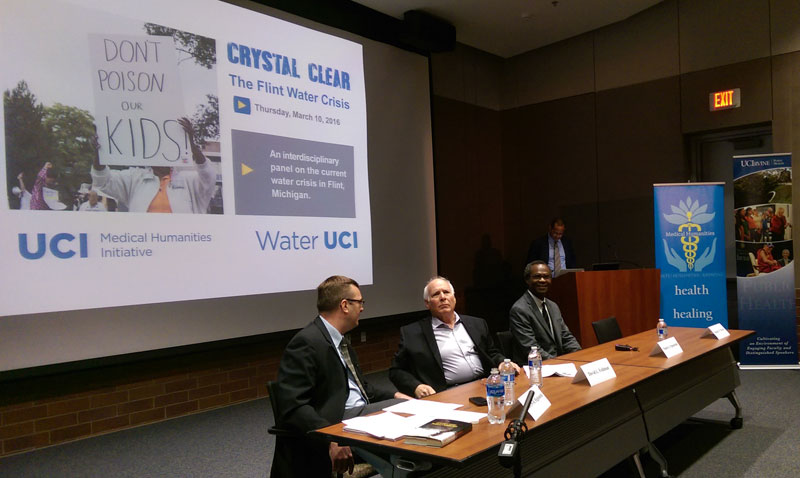 Public Health professor Dr. Dele Ogunseitan is shown with other panelist during Crystal Clear: The Flint Water Crisis - An interdisciplinary panel on the current water crisis in Flint, Michigan.