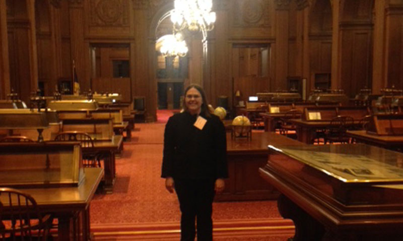 Jaime Allgood (Public Health Doctoral Candidate) at the Supreme Court Library.