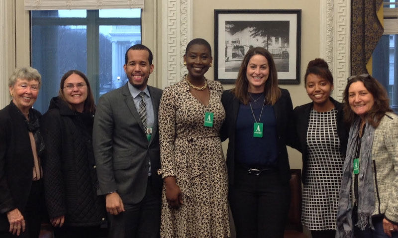 The UCI Reproductive Justice Law Clinic (RJC) takes a class field trip to Washington D.C.  — pictured here at the Eisenhower Executive Office Building. They are there to discuss the mass incarceration of women and girls, and the health impacts on children.   <sub> (L to R) The Hon. Ret. Judge Lynne Riddle (RJC co-instructor), Jaime Allgood (Public Health Doctoral Candidate), Elias Alcantara (Assoc. Dir. of Intergovernmental Affairs), Professor Michele Goodwin (UCI Chancellor's Prof. of Law, Prof. of Public Health and RJC instructor), Andie Diaz (3L at UCI's School of Law), Staff Member from the Office of the First Lady, and Kathy Eiler (UCI Dir. of Federal Relations).</sub>