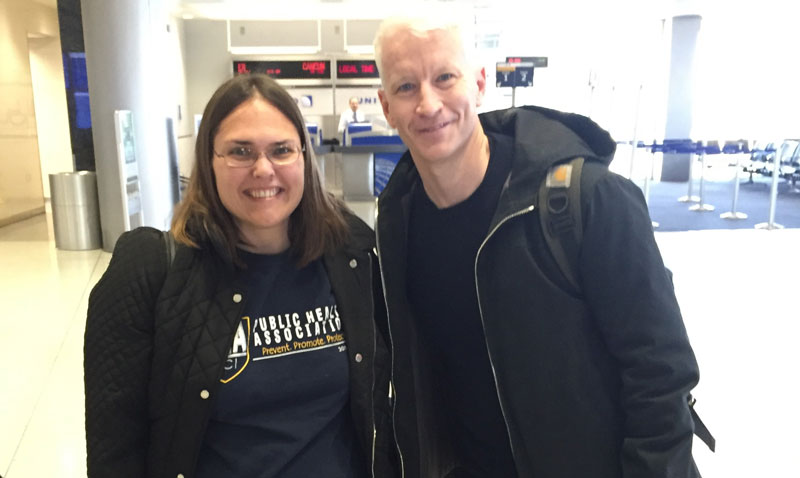 Jaime Allgood (Public Health Doctoral Candidate) meets Anderson Cooper on plane ride home from Washington D.C.