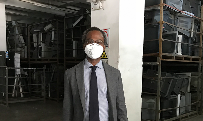 Dele Ogunseitan at E-waste Processing Facility in Beijing, China