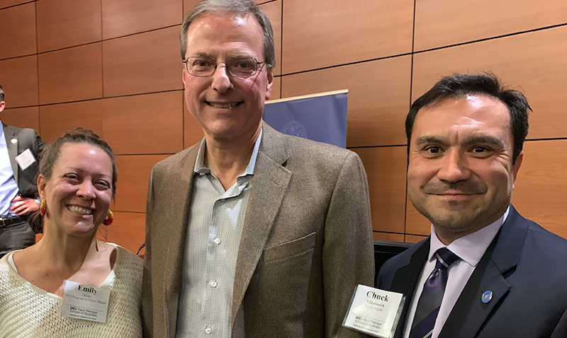 Emily Drum and Chuck Villanueva attend the Paul Merage School of Business Distinguished Speakers Series featuring Dr. Henry Samueli, sharing his motivation for education and philanthropy.