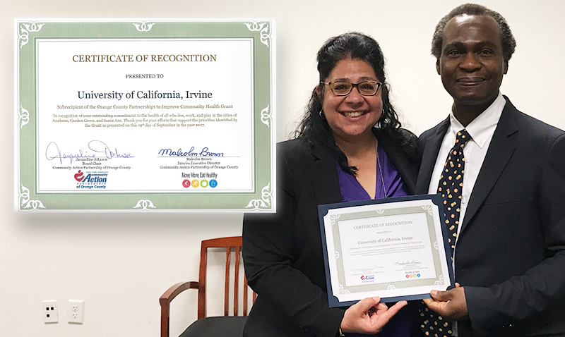 Dr. Mo Sami, Project Scientist, and Dr. Dele Ogunseitan, PI on CDC-funded OC-PICH -- OC-PICH Certificate to UC Irvine Population Health