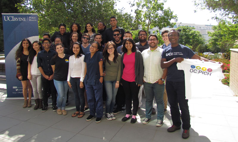 UCI Public Health students working on OC PICH pose with OC PICH Project Scientist, UCI Prof. Mojgan Sami and Public Health Chair, Prof. Dele Ogunseitan.