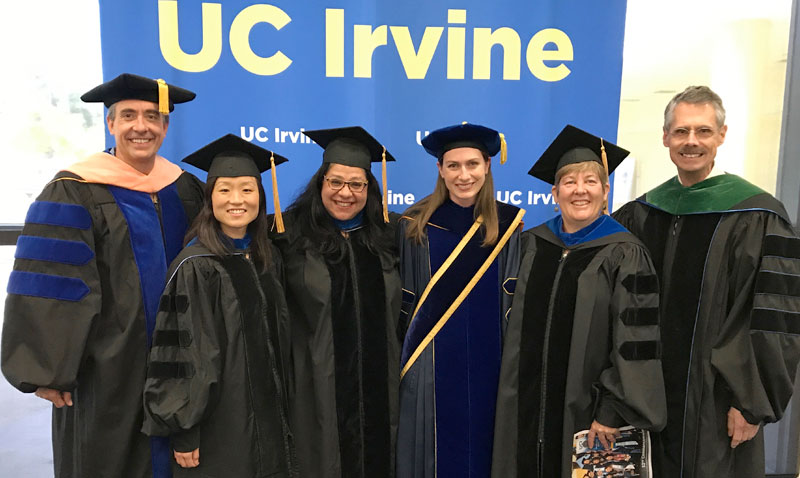 The Public Health Faculty congratulate the 2017 graduates from the Program in Public Health during the College of Health Sciences Graduation Ceremony: (L to R) Dr. David Timberlake, Dr. Annie Ro, Dr. Mojgan Sami, Dr. Miryha Runnerstrom, Dr. Karen Edwards (Interim Chair), and Dr. Howard Federoff (Vice Chancellor for Health Affairs).