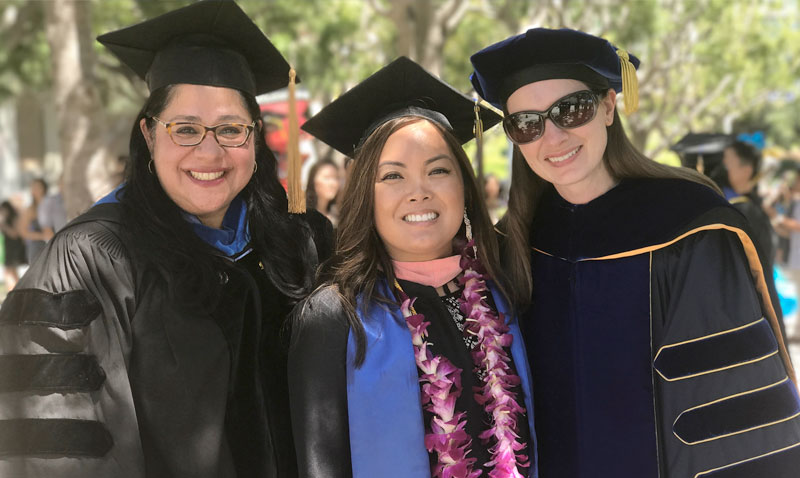 2017 Public Health Graduation: (L to R) Dr. Mojgan Sami, Bernadine Dizon, MPH, and Dr. Miryha Runnerstrom