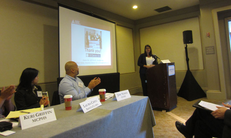 MPH student Lauren Granillo gives a presentation at the 2014 ASPPH event in New Orleans