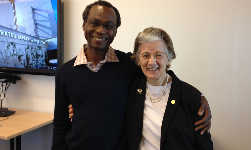 Dele Ogunseitan with Rita Colwell, distinguished professor at the University of Maryland and Johns Hopkins School of Public Health on her visit to the Orange County Water District, December 18th 2015