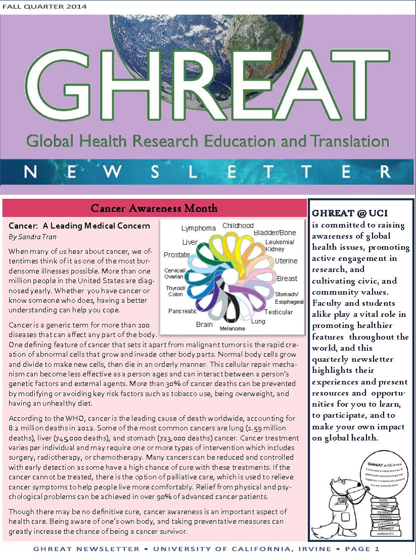 GHREAT 2014 Fall Newsletter