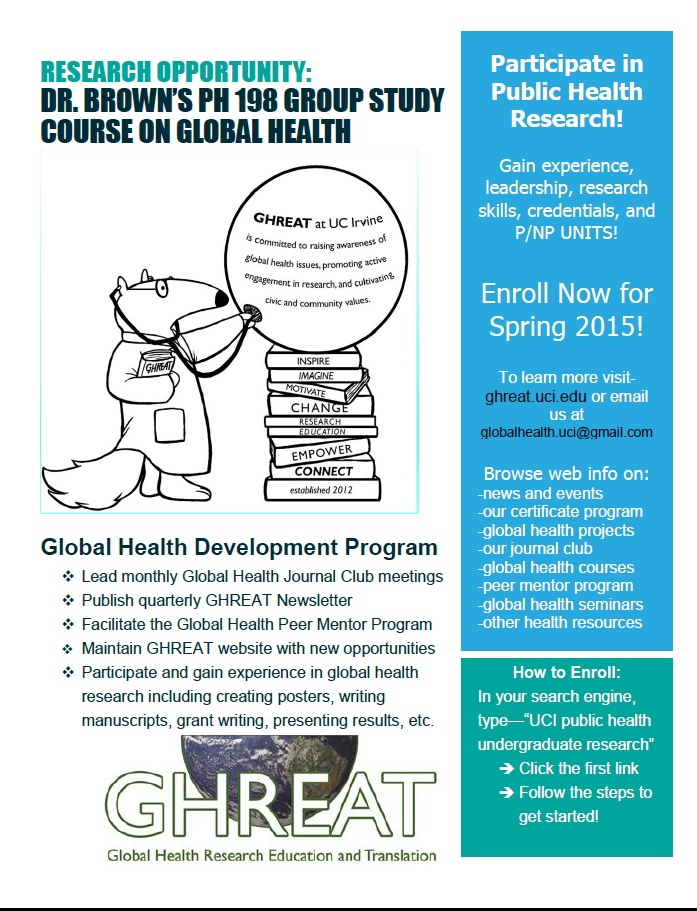 Research Opportunity for Public Health Students