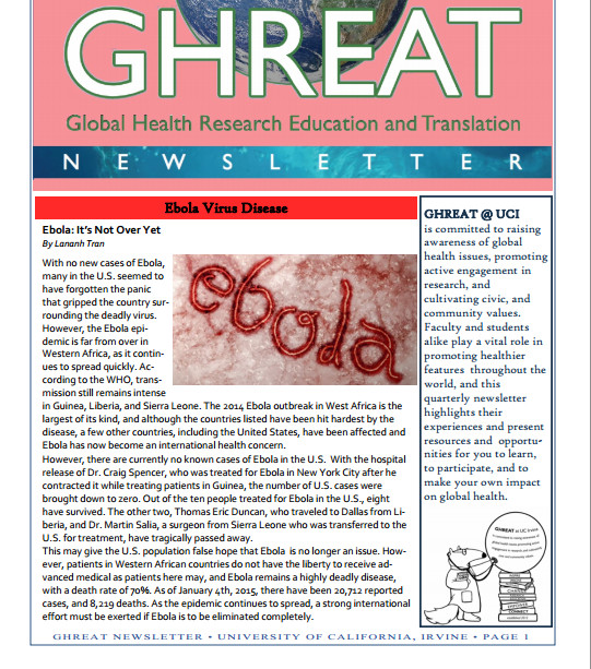 GHREAT NEWSLETTER  Winter 2015