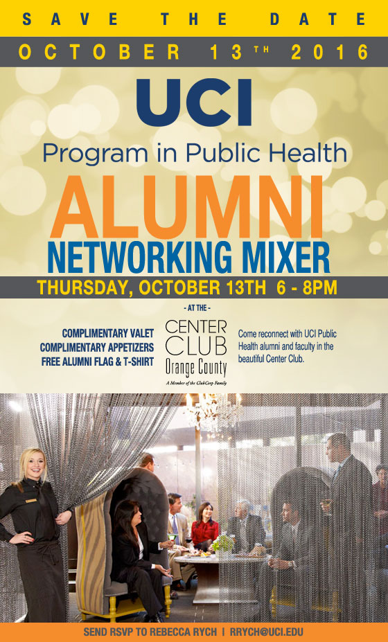Event: Where are they Now: UC Irvine - Program in Public Health Alumni Networking Mixer: 10/13/16 - RSVP