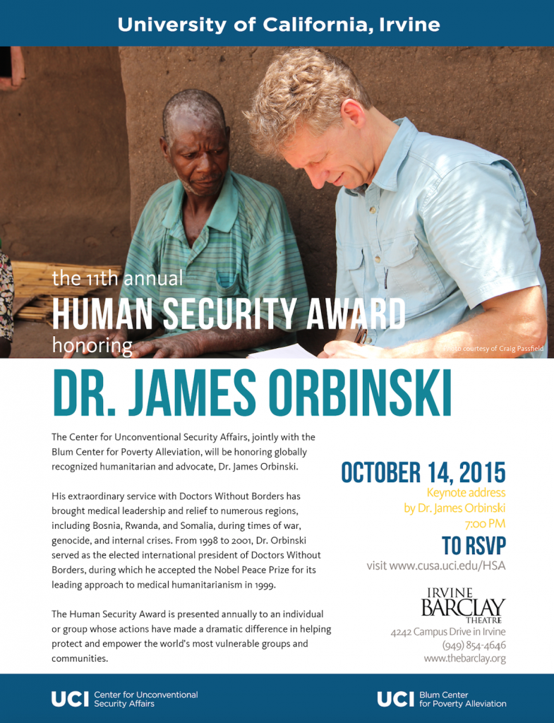 Event: 11th Annual Human Security Award with Dr. James Orbinski – 10/14/15