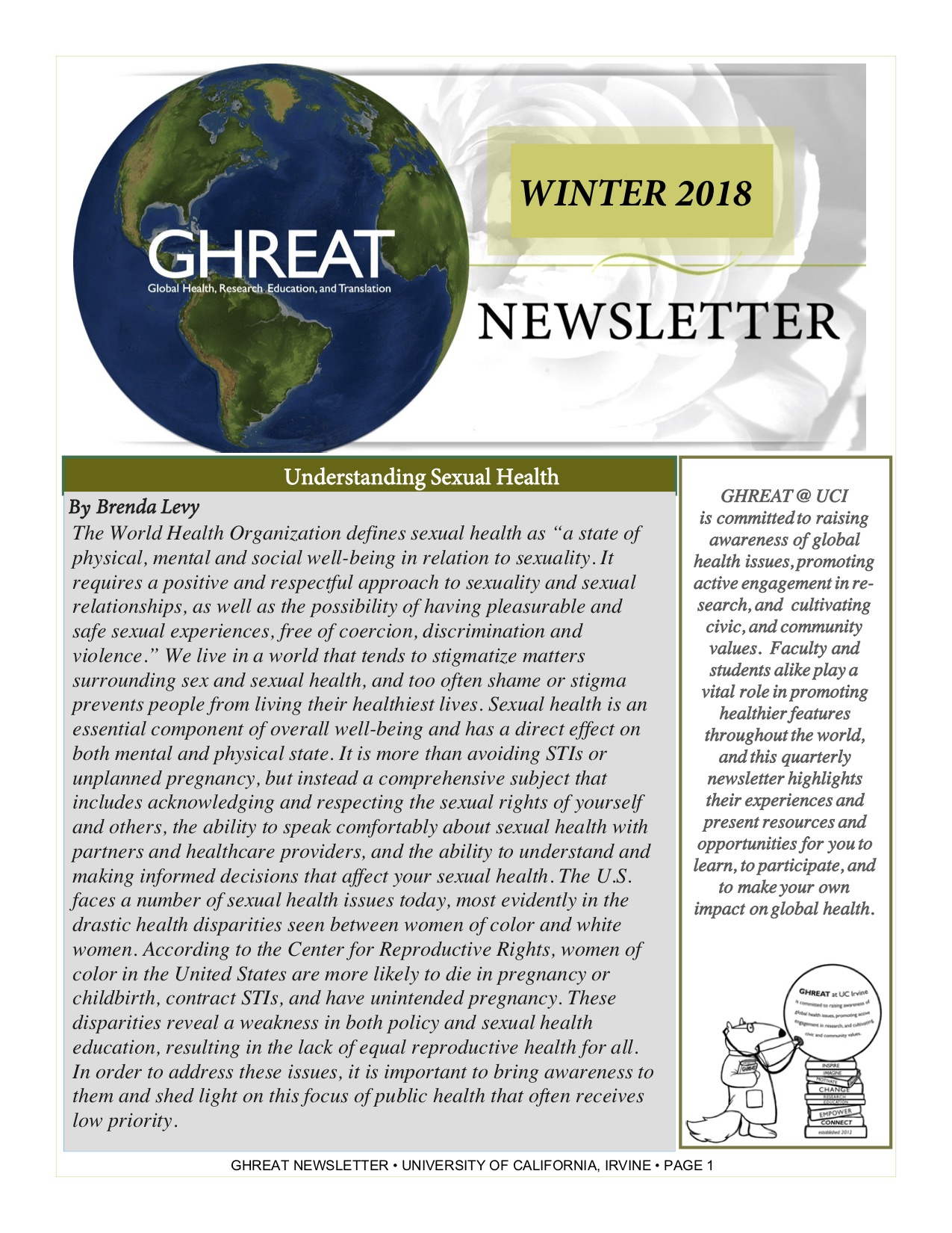 Winter 2018 GHREAT Newsletter