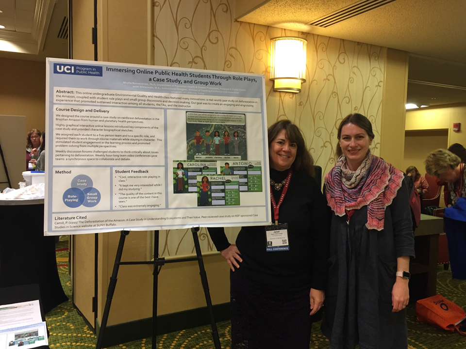 UCI Public Health professor Miryha Gould Runnerstrom and DTEI Instructional Designer Janet DiVincenzo  -- Present a poster on PH60 at the EDUCAUSE Learning Initiative (ELI) conference in January 2018