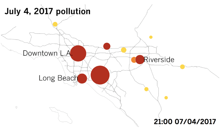 The Fourth of July brings some of the year's worst air pollution. You can thank fireworks<br><small>Article with quote by UCI Prof. Jun Wu</small>