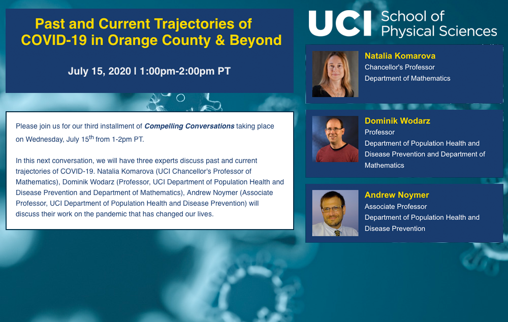 Compelling Conversations: Current trajectories of COVID-19 | Wednesday, July 15th from 1-2pm PT | featuring Professors Natalia Komarova, Dominik Wodarz, and Andrew Noymer