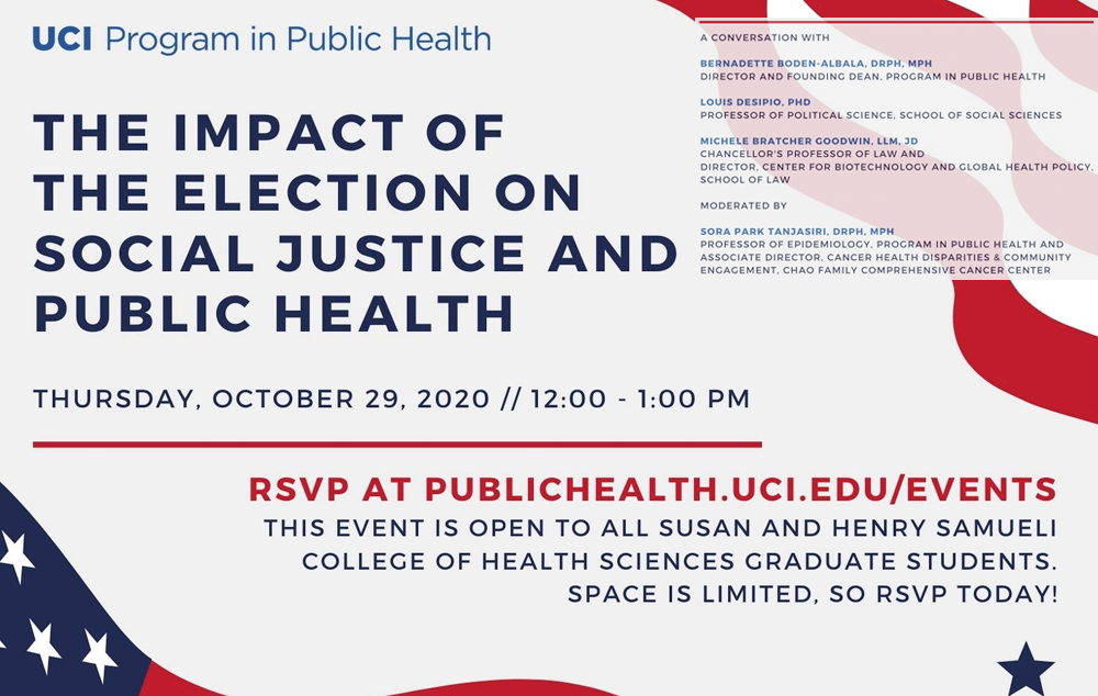 Webinar: The Impact of the Election on Social Justice and Public Health - 10/29/20, 12:00 - 1:00PM